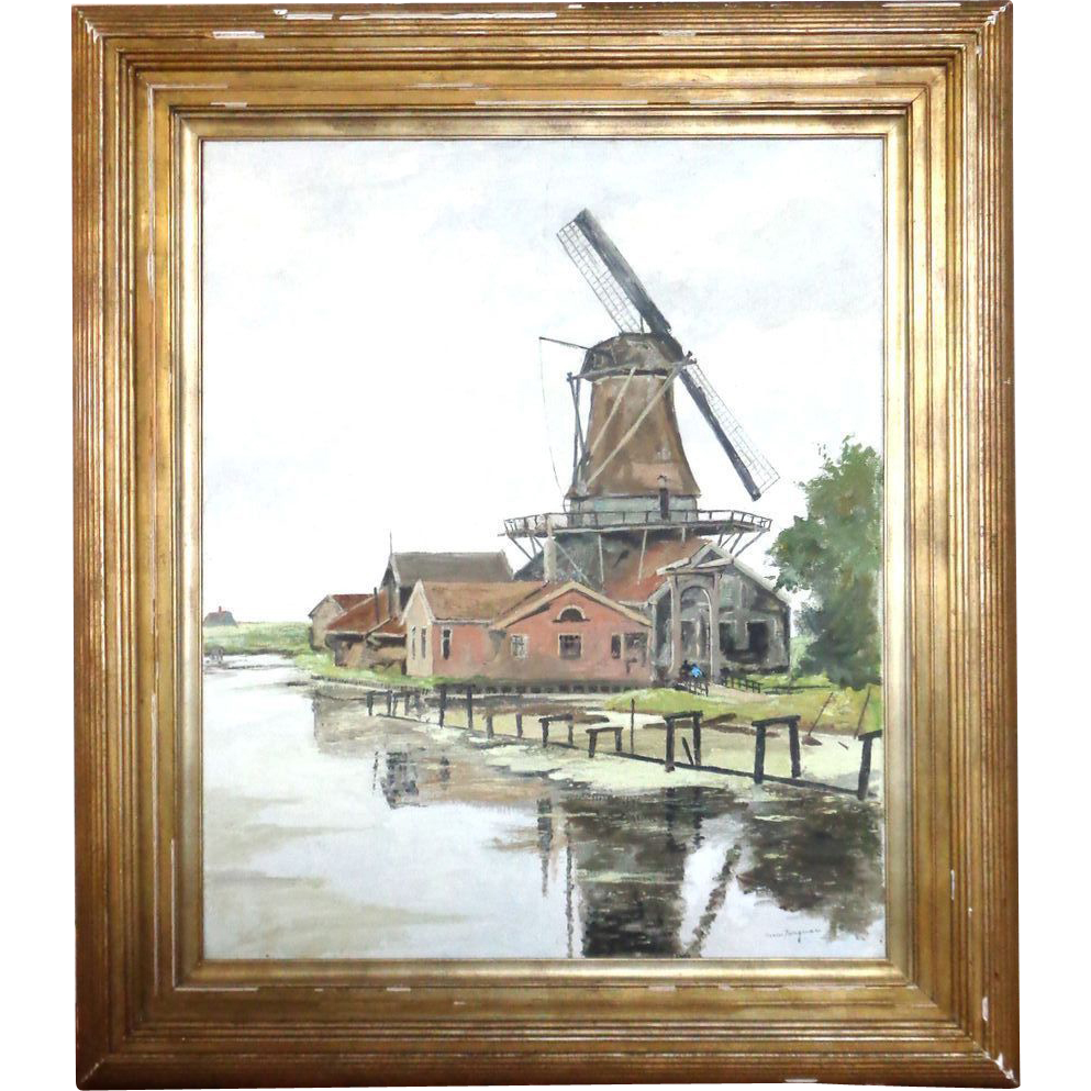 Large Landscape With Windmill, Oil on Canvas, by Well-Listed Artist Nico Wilhelm Jungmann (Amsterdam, February 5, 1872 - London, August 14, 1935)  Signed,
