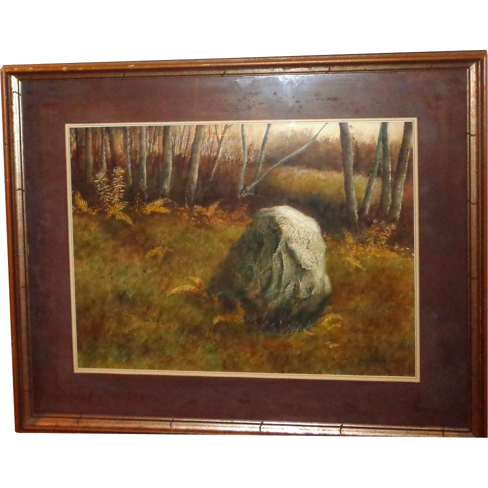 """Boulder In The Forest"" Large Signed Original Painting By P. Sinclair"