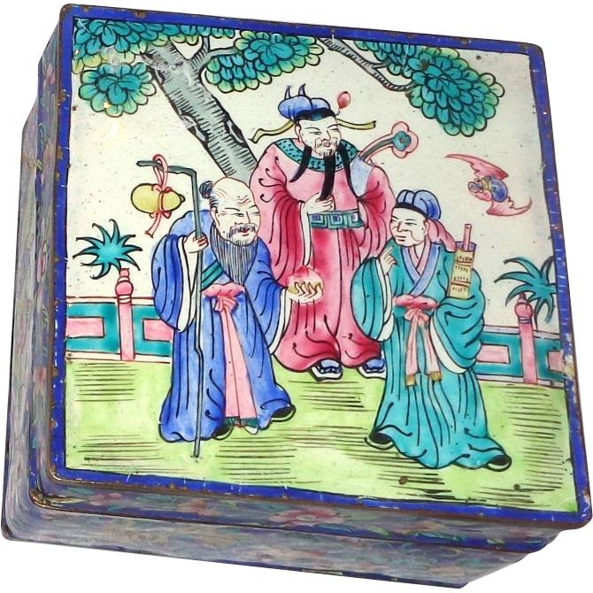Beautiful Enamel On Copper Signed Lidded Box, Chinese