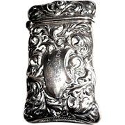 Antique Sterling Silver Match Safe (Vesta), St. Andrew Lodge, Dated 1898.