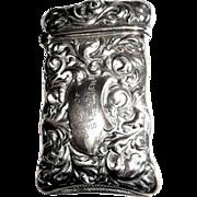 Antique Sterling Silver Match Safe (Vesta), St. Andrew Lodge, Dated 1898.