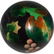 """Kuo's China Cloison"" Exquisite Grape Cloisonne Paperweight, By Well-Known Artist, Robert Kuo"