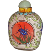 Enameled Chinese Snuff Bottle, Republic Period, Exquisite With Butterfly One Side, Beetle the Other