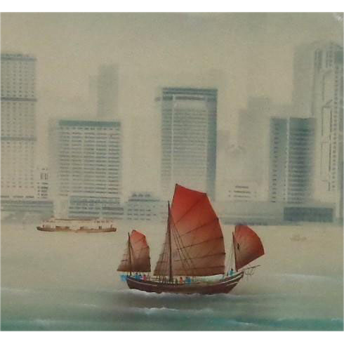 """Le Pho (Vietnamese 1907-2001) Original Painting, Signed, """"A Junk In The Harbor"""""""