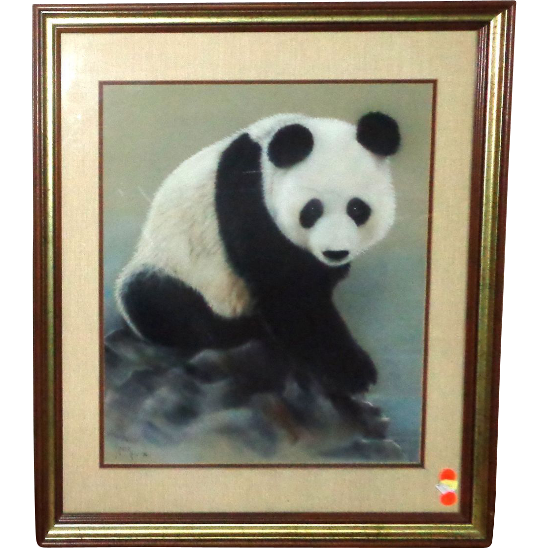"Original Painting ""Panda Portrait"" - Signed/Dated Maury, 1984"