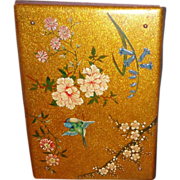 Japanese Lacquer Folio Cover With A Bird Among Flowering Branches - Red Tag Sale Item