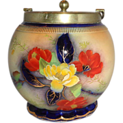 Art Deco Carlton Ware Biscuit Jar With Silver-Plated Lid, c 1906 - 1927.