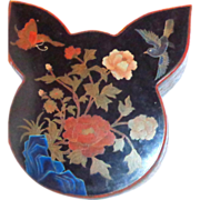 Butterfly And Bird Chinese Lacquer Box And Cover, Unusual Shape