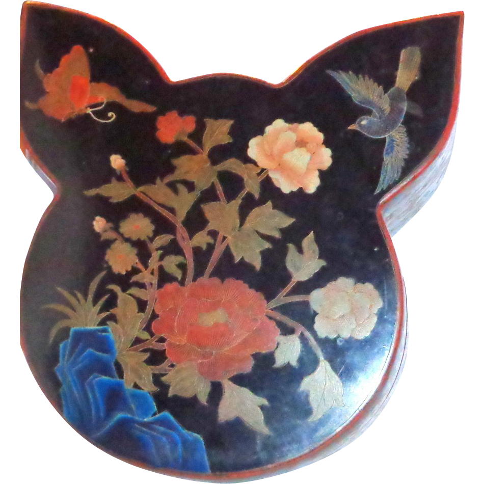 Butterfly And Bird Chinese Lacquer Box And Cover, Unusually Shaped,