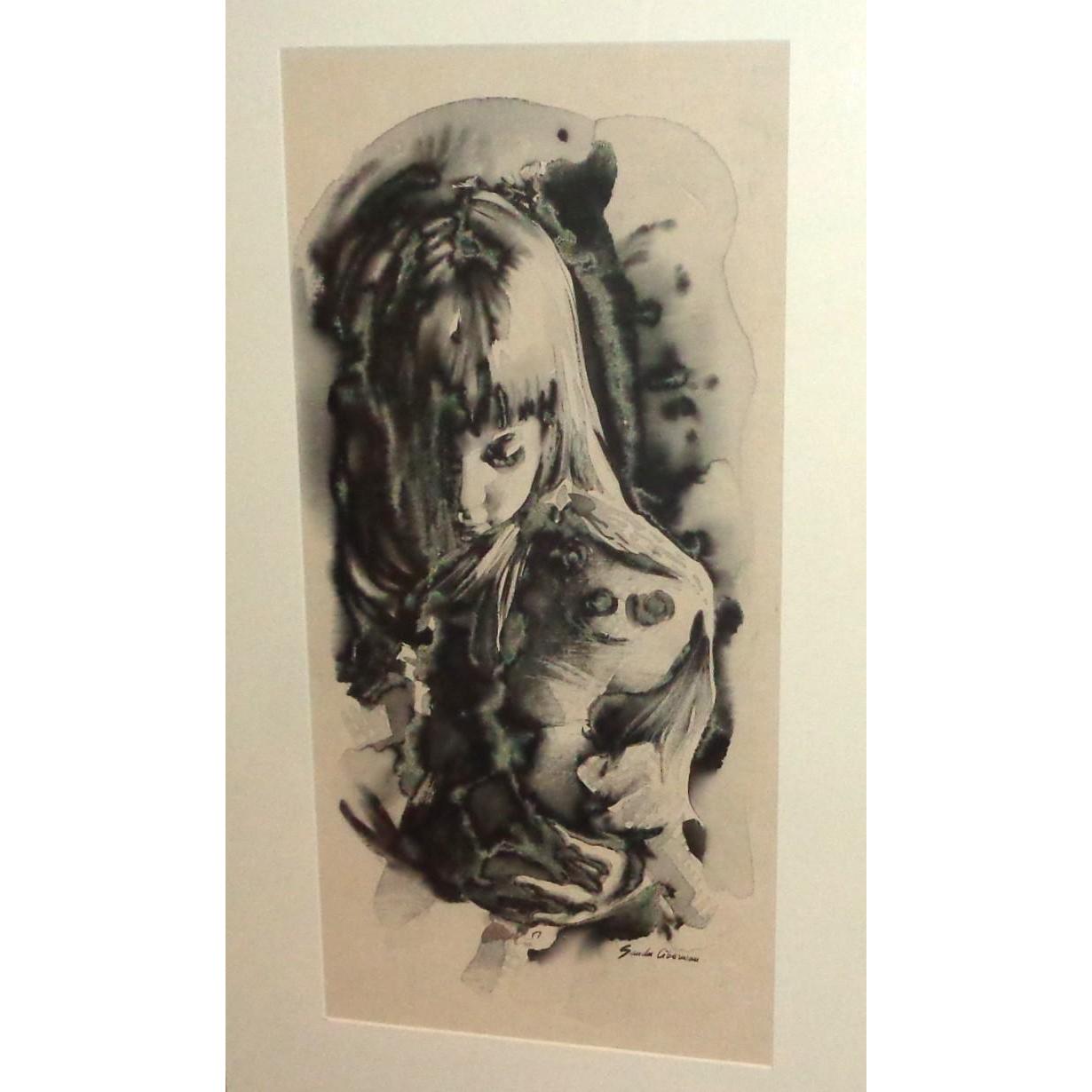 "Sandu Liberman, (Romanian/Israeli 1923 - 1977) Original Signed Watercolor, ""Girl With Doll"""
