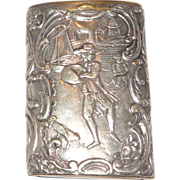 German Silver Match Case (Vesta) With Two Well-Detailed Scenes, Circa 1900