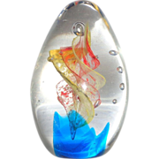 Art Glass Hand Cooler and Paperweight, Modernistic, Abstract, Eye-Catching