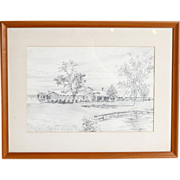 John Moll (American 1909-1999) Original Drawing, Matted, Framed, Signed