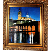 "F. Lucas (Cuban/Venezuelan/American, Contemporary) Original Oil On Canvas ""Cathedral Towers, Salamanca, Spain"""