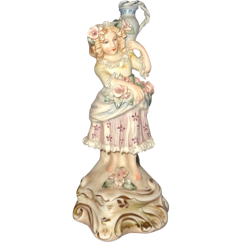 Cordey/Cybis Very Well-Detailed Figurine Of Girl With Pitcher, Roses, And Lovely Clothing, Signed