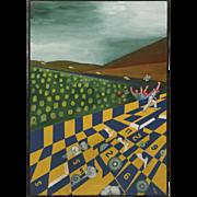 "Huge Original Oil On Board ""Race Track"" By Outsider Artist T. Lee"
