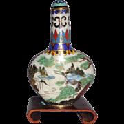 19th Century Cloisonne Enamel Snuff Bottle, Beautiful!