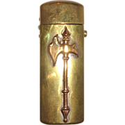 Push Button Brass Match Safe Decorated With An Axe, Circa 1890/1910