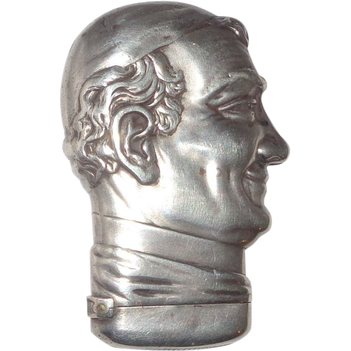 POPE PIUS IX - Sterling Silver Howard Figural Match Safe, Circa 1900