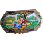 800 Silver Compact With Enameled Romantic Scene, Ornate Engraving