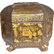Antique Chinese Lacquer Tea Caddy, Circa 1860