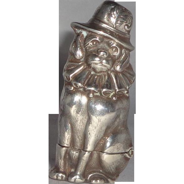 Sterling Silver British Well-Dressed Dog Match Safe (Vesta)