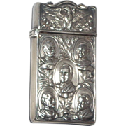 Antique Sterling Mauser Match Safe (Vesta) With Eagle Over Five Busts - President McKinley, Admiral Dewey, Capt. Sigabee, Gen. Miles, and Hon. Fitzhugh Lee.
