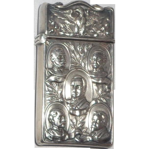 Antique Sterling Mauser Match Safe (Vesta) With Eagle Over Five Busts