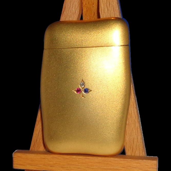 14K Gold, Diamond, Ruby and Emerald Battin Shaped Match Safe (Vesta),