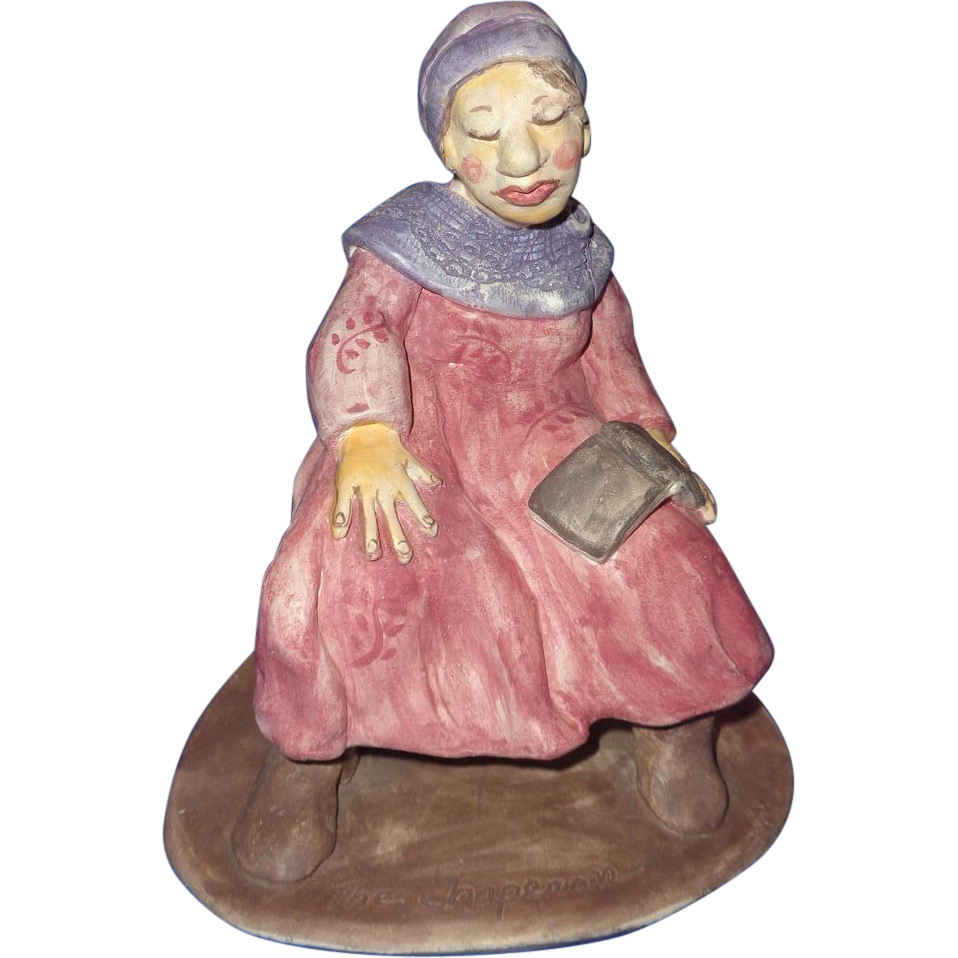 """The Chaperon"" Original Ceramic Figure Signed By Artist, Merle Davis"