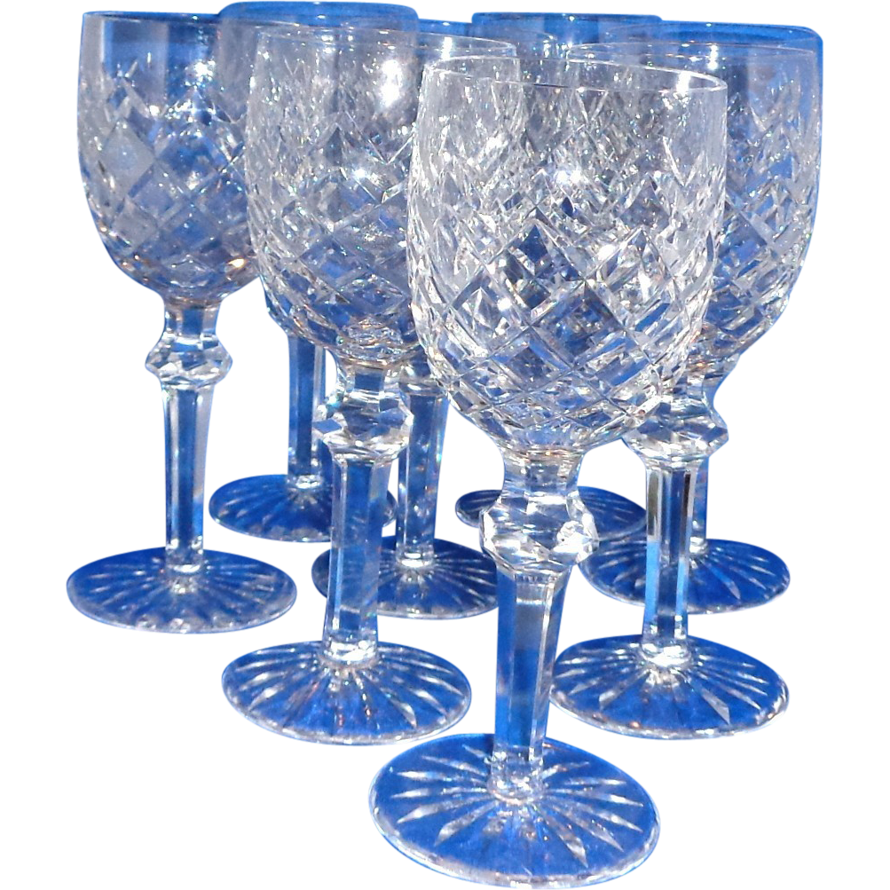 Waterford powerscourt eight crystal claret wine glasses red tag sale sold on ruby lane - Wedgwood crystal wine glasses ...