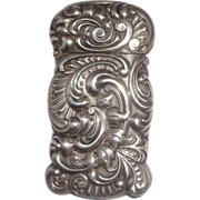 Antique Sterling Silver Shiebler Shaped Match Safe (Vesta), Beautiful Repousse, Circa 1900