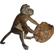 Vienna Bronze Monkey With Walnut Basket, Signed, Circa 1890/1910