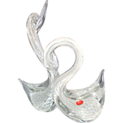 Very Large Pair of Murano Glass Swans With Original Sticker, Exquisite!