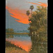 "WILLIE DANIELS (American) - Florida Highwayman Original Oil ""Marsh Sunrise"""