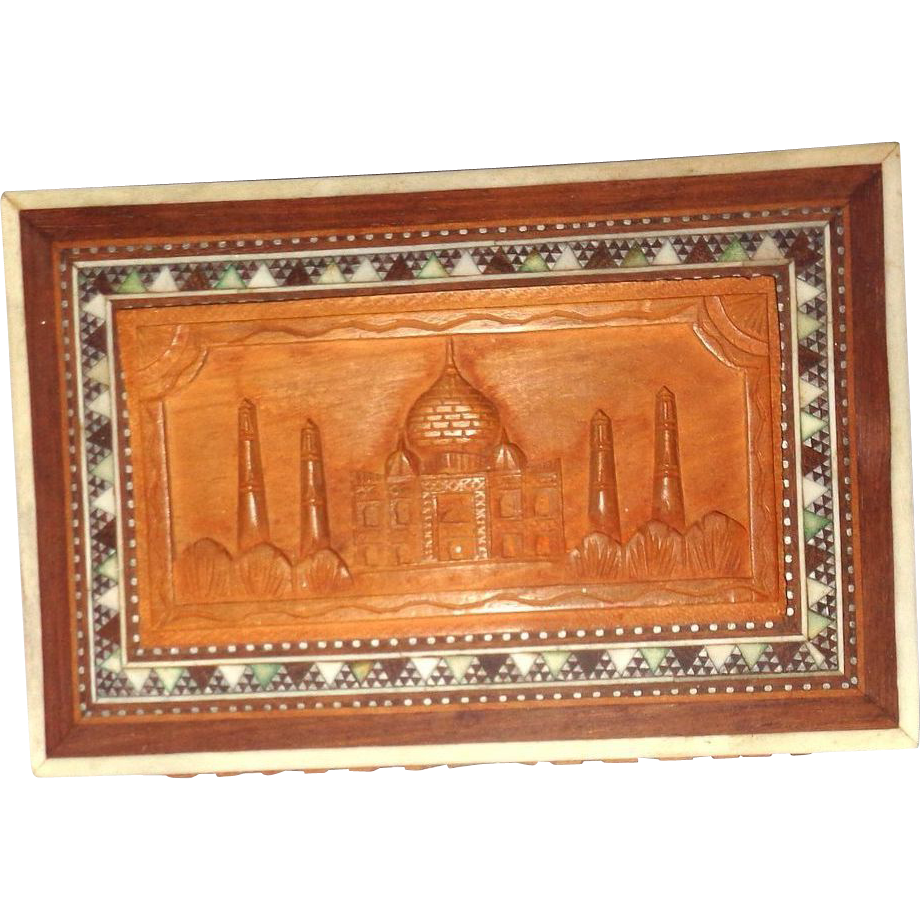 Carved and Inlaid Wood Dresser Box With The Taj Mahal, Great Monument to Love