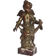 Art Deco Winged Angel With A Frog - Cast Metal On A Marble Base