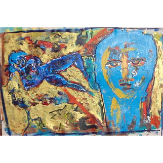 "NEITH NEVELSON (American, Born 1946 - )  Original Oil On Canvas ""Blue Nude And Face"""