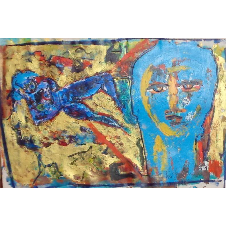 "Original Oil On Canvas ""Blue Nude And Face"" Neith Nevelson (American Born 1946 - )"
