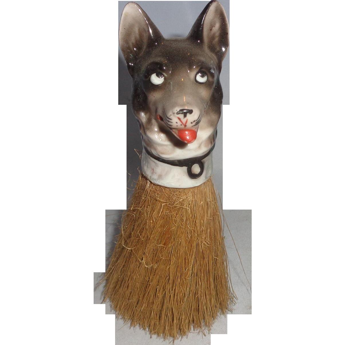 Vintage German Shepherd Whisk Brush, Adorable