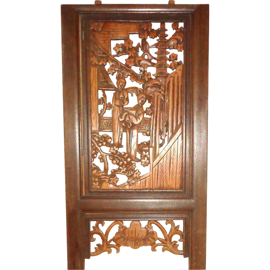 Asian Wood Panel, Both Sides Well-Carved and Detailed, Two Women, Foliage, Plants, Trees. Buildings