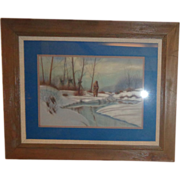 "Native American Original Pastel ""Waiting For Spring"" Signed"