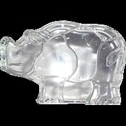Heavy Glass Rhinoceros Paperweight