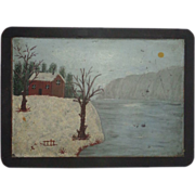 Antique Original Folk Art Naive Winter Scene Painting On Slate