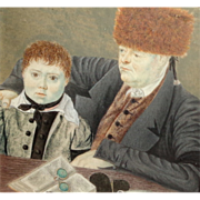 Russian Miniature Portrait Painting Father and Son, 1820, in Gold gilt Frame