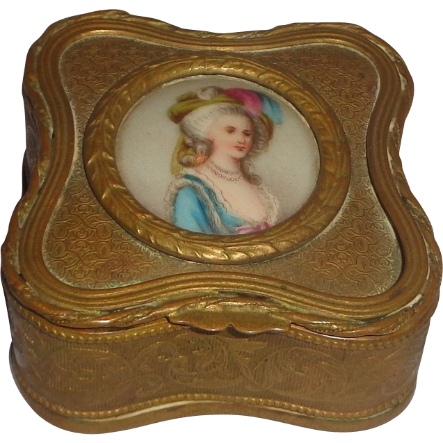 Lovely Continental Porcelain Portrait Inset In Dresser Box