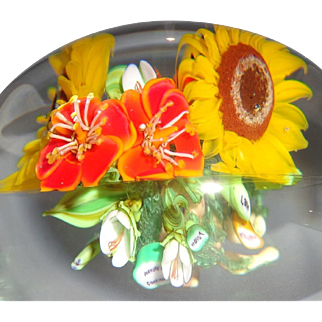 Paul Stankard Signed and Dated Very Special Art Glass Paperweight With Root People, Words And Flowers!