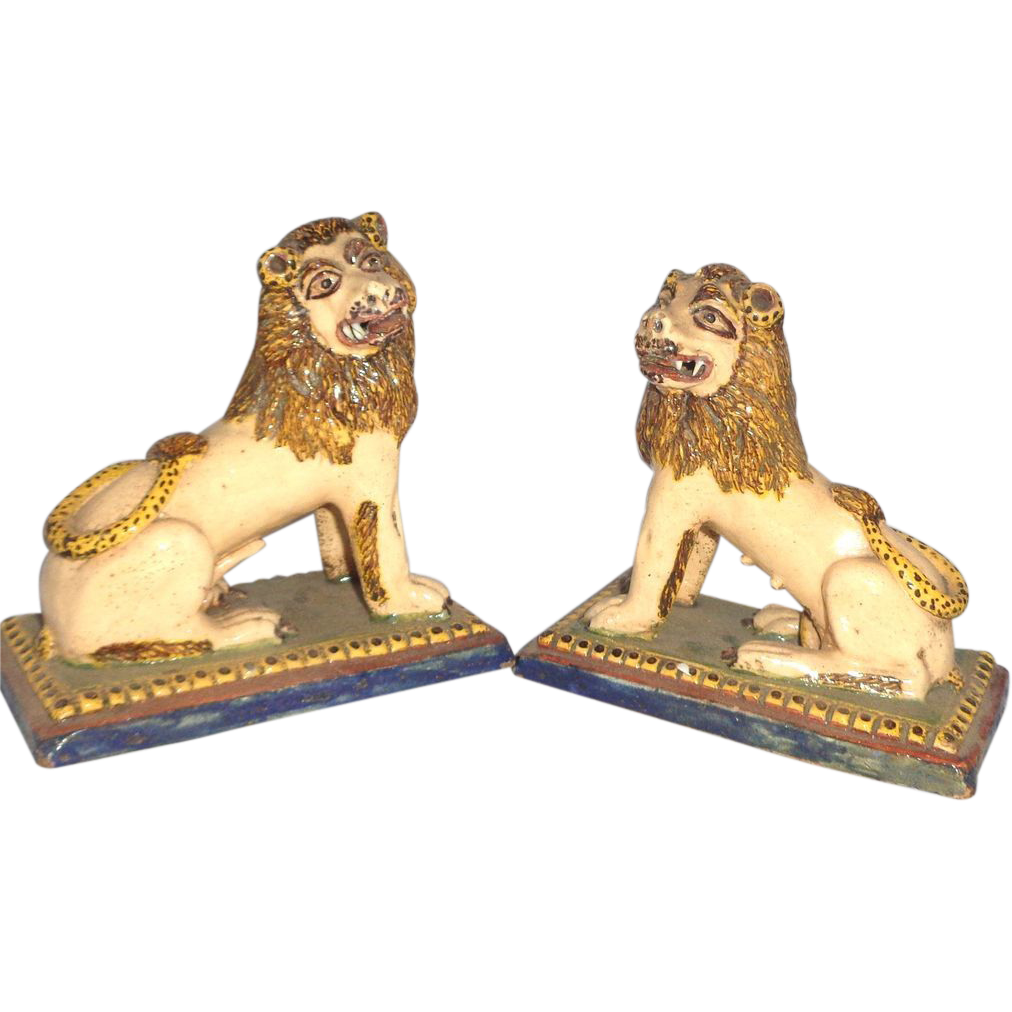 PAIR of Pottery Lions Purchased In France in 1965