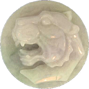 Natural Lavender Jade Art Glass Lion Paperweight, Carved In High Relief