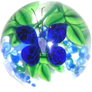 Steven Lundberg Personally Signed Paperweight With Butterfly And Flowers
